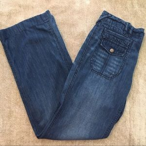 Free People Mid-Rise Jeans with Patch Pockets.